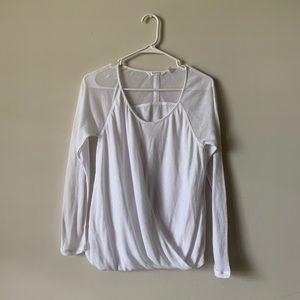 Athleta white draped sheer long sleeve workout top